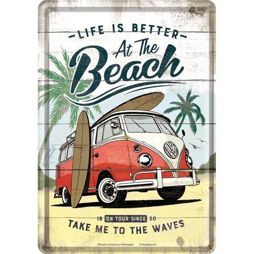 VW Bulli Blechpostkarte Beach