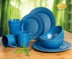 Bambus Geschirr-Set Lugo dunkelblau 10-teilig