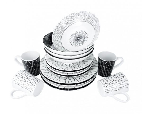 Camp4 Black-White Premium Melamin Geschirr-Set 16-teilig