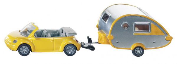 Siku VW-Beetle Cabrio mit Tab-Wohnwagen