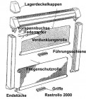 Führungsschiene alu grau mit Endkappe 700 mm für Rastrollo 2000