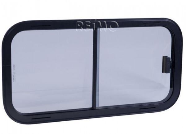 Sicherheitsglas Schiebefenster, Rahmen schwarz, 600x250 mm